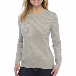 Kim Rogers Cable Knit Crew Neck Heather Sweater